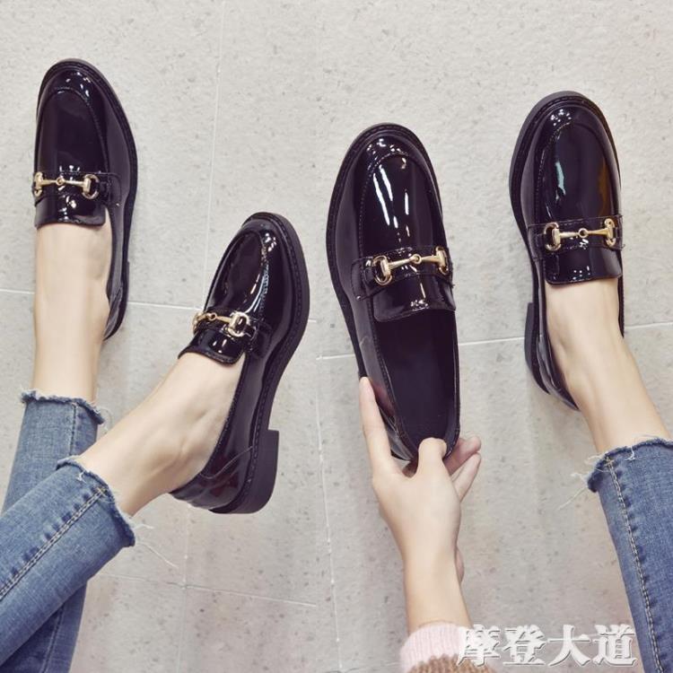 小皮鞋女英倫風黑色2019春季新款韓版百搭學生ins復古平底單鞋女『摩登大道』