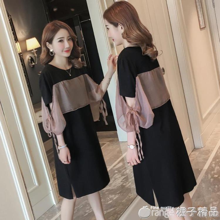 韓版夏裝前后拼接雪紡氣質時尚連身裙開叉中長款黑色短袖T恤裙女