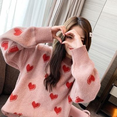 長袖洋裝 外套寬鬆慵懶風毛衣女套頭秋冬加厚粉色打底針織衫中長款