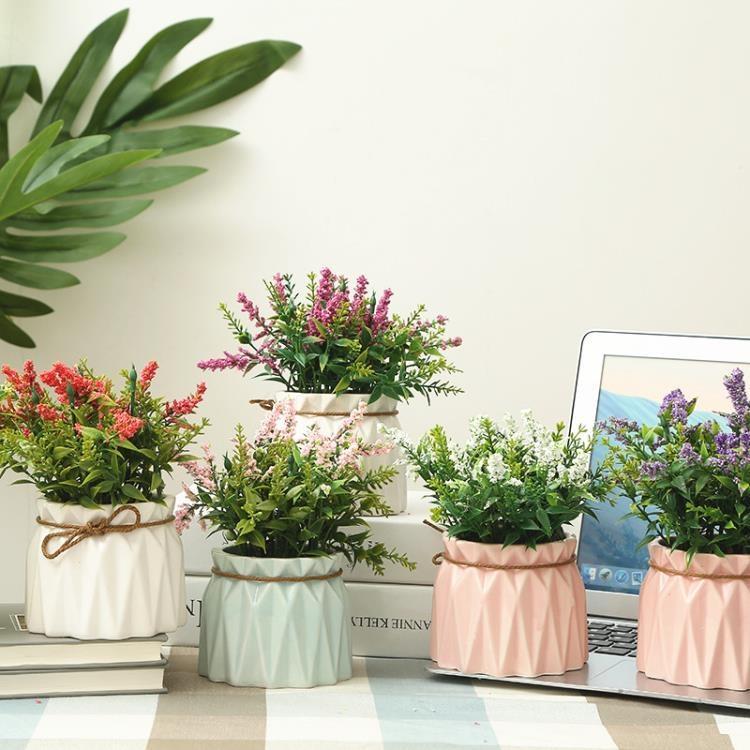 小清新仿真植物盆栽擺件多肉假花盆景家居客廳室內綠植裝飾品擺設-開心購