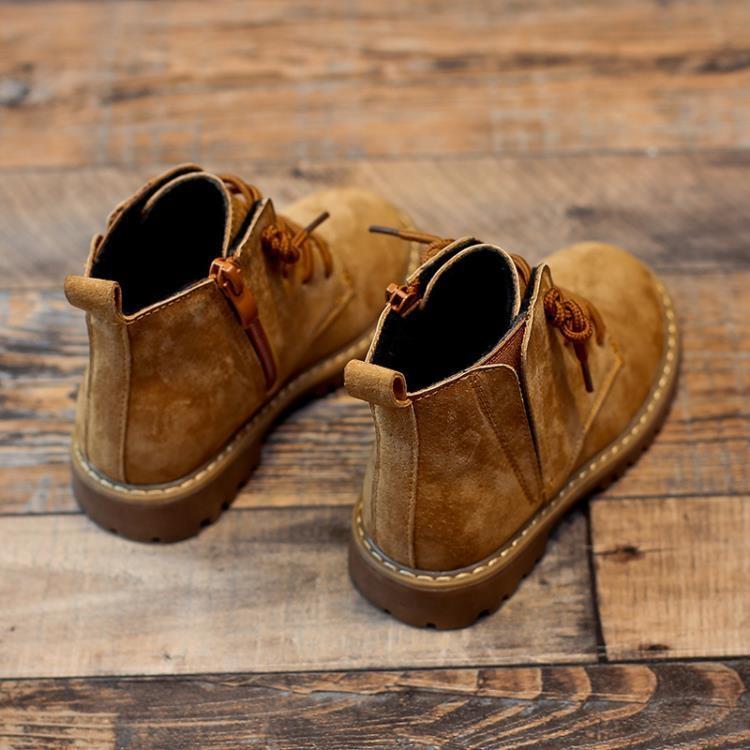 女童馬丁靴真皮秋冬季英倫男童鞋加絨二棉小短靴兒童靴子-開心購