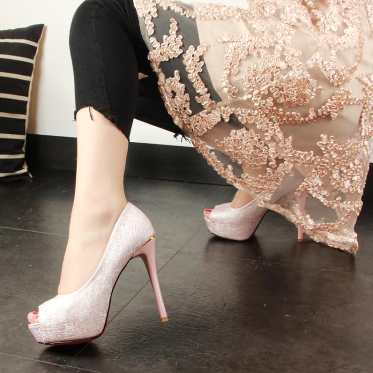 歐洲站夏季細跟超高跟防水台露趾淺口洋裝粉色魚嘴單鞋女
