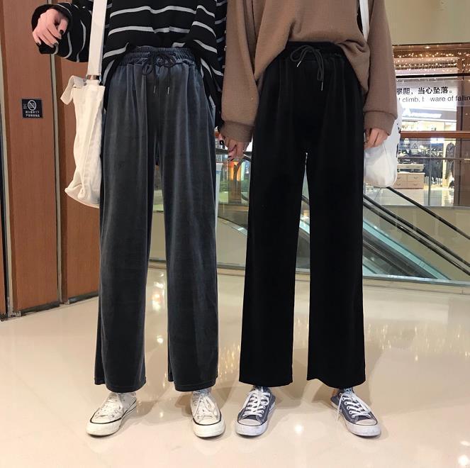 韓版女裝鬆緊腰系帶絲絨九分闊腿褲顯瘦高腰休閒褲女褲子-開心購