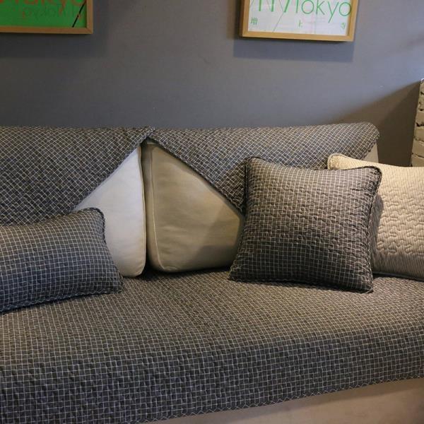 經典北歐時尚全棉沙發墊深色格子耐臟沙發巾防滑布藝沙發套罩-開心購