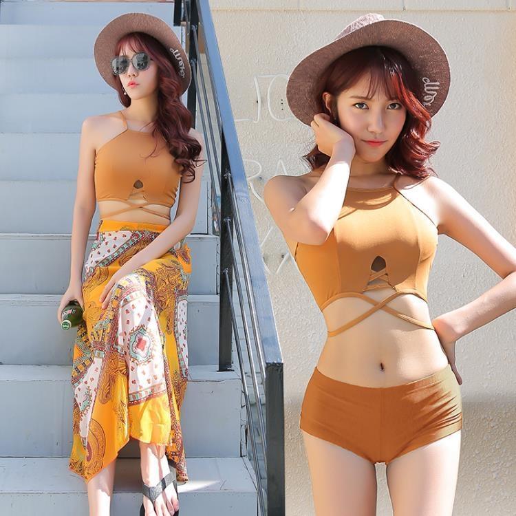 泳衣女三件式保守學生韓國小清新溫泉小香風分體遮肚性感裙式泳裝-開心購