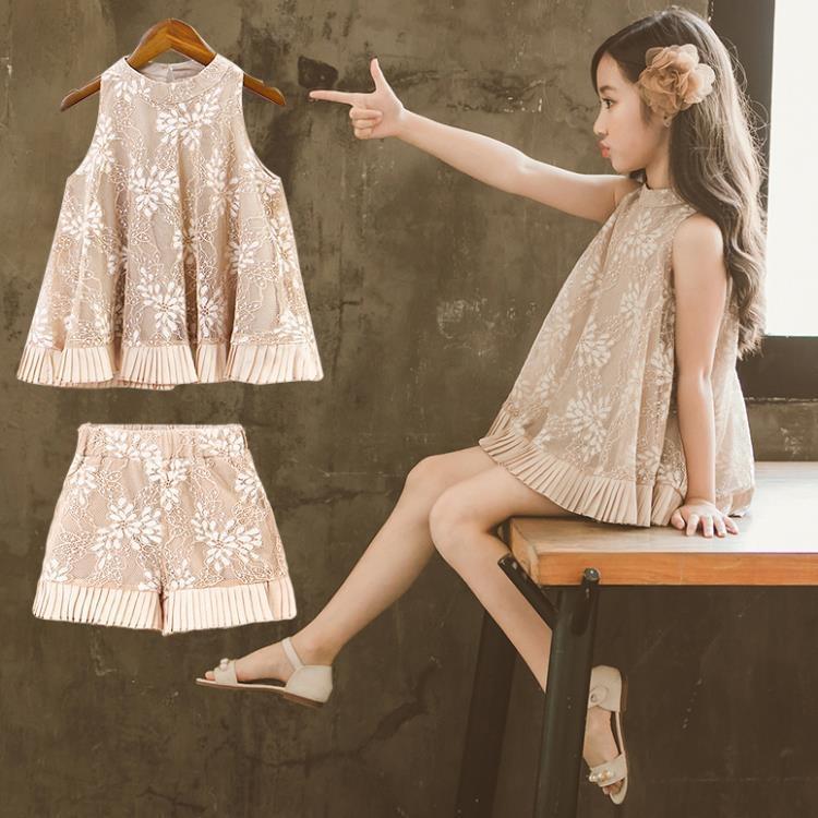 女童套裝夏裝時尚兒童中大童洋氣時髦兩件式短褲潮衣-開心購