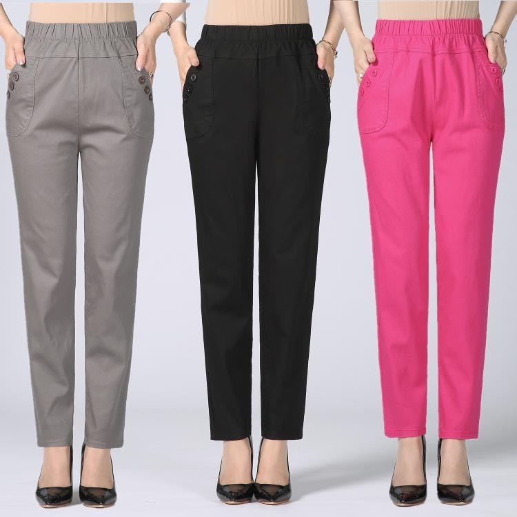 中年女士休閒褲外穿媽媽裝大碼全棉高腰彈力中老年寬鬆女褲-開心購