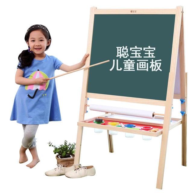 寶寶兒童畫板實木雙面磁性涂鴉板小黑板支架式家用畫畫寫字板大號FA