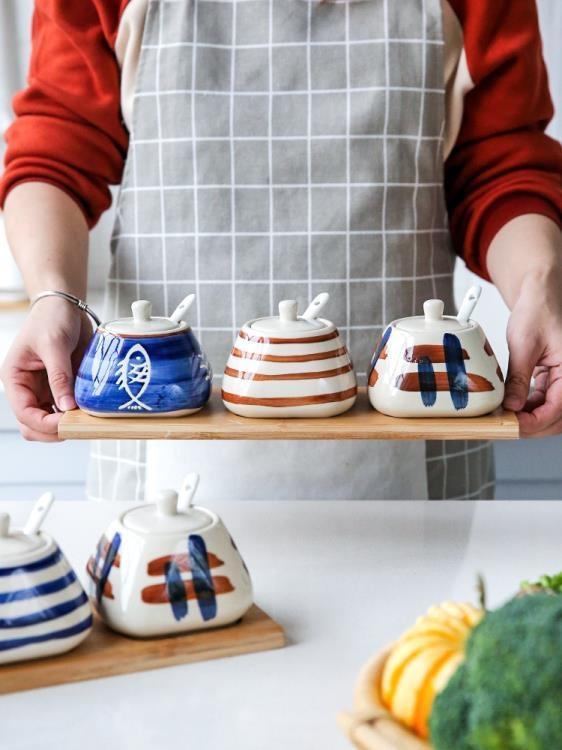 川島屋 日式創意調料盒套裝家用廚房陶瓷鹽罐調料調味瓶罐TW-34-開心購
