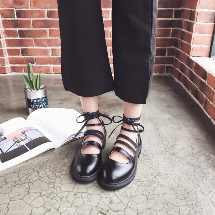 中跟圓頭粗跟腳踝絲帶綁帶小皮鞋英倫風學生單鞋女鞋 免運