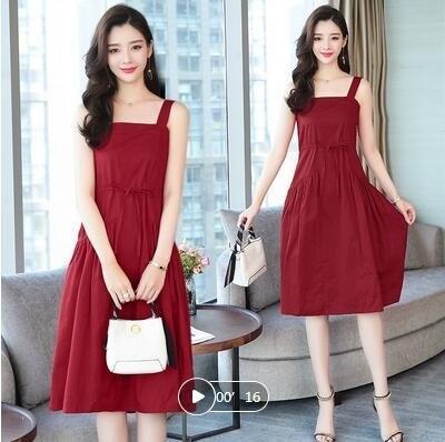 洋裝S-XL連身裙伴娘裙30070/2019夏季新款中長款收腰顯瘦裙子-開心購