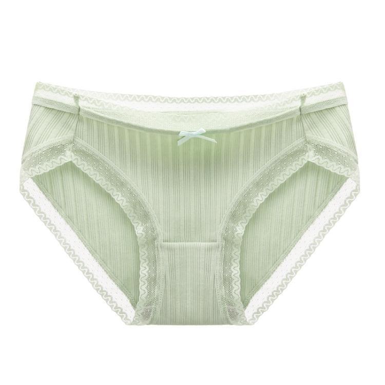 千奈美舒適蕾絲甜美清新女士內褲簡約純色中腰提臀透氣褲頭單條裝