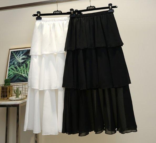 雪紡裙半身裙31013/新款高腰a字裙三層純色裙中長款ins超火半身裙-開心購