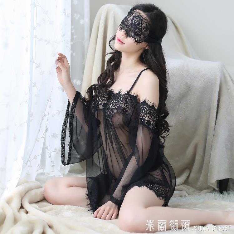 情趣睡衣 性感睡衣女夏火辣情趣內衣透明薄紗蕾絲吊帶睡裙網紗透視短裙套裝