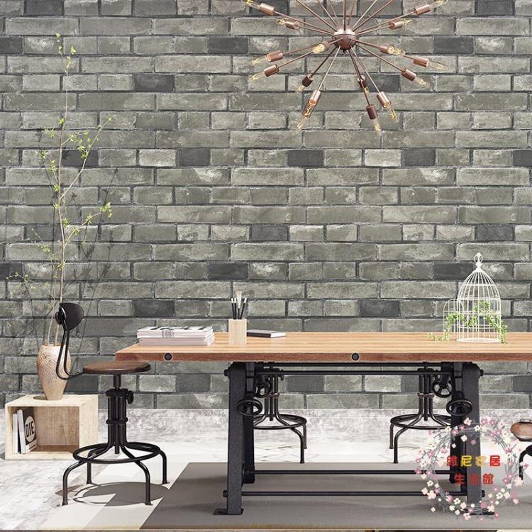 TT精品復古3D立體仿磚紋磚塊磚頭墻紙飯店發廊理發服裝店面鞋店壁紙白磚  露天拍賣
