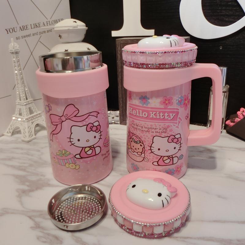日韓Kitty可愛鉆卡通辦公室把手大容量泡茶保溫杯水杯杯子保溫壺