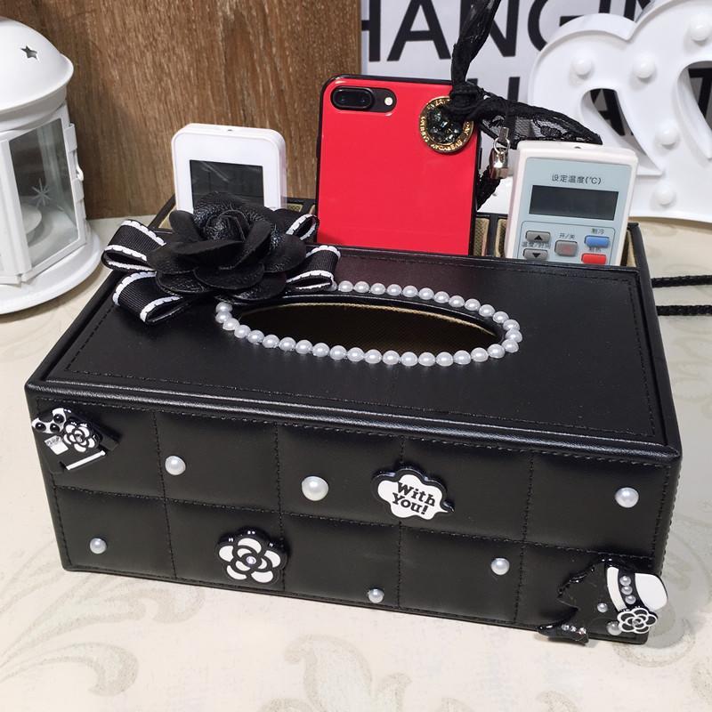 歐式多功能紙巾盒小香風遙控器收納盒紙抽盒創意家居用品客廳茶幾