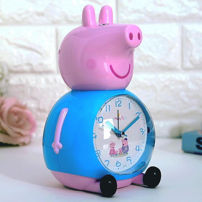 創意可愛卡通會說話鬧鐘靜音帶燈兒童學生起床鈴小豬佩琪臺鐘鬧鐘