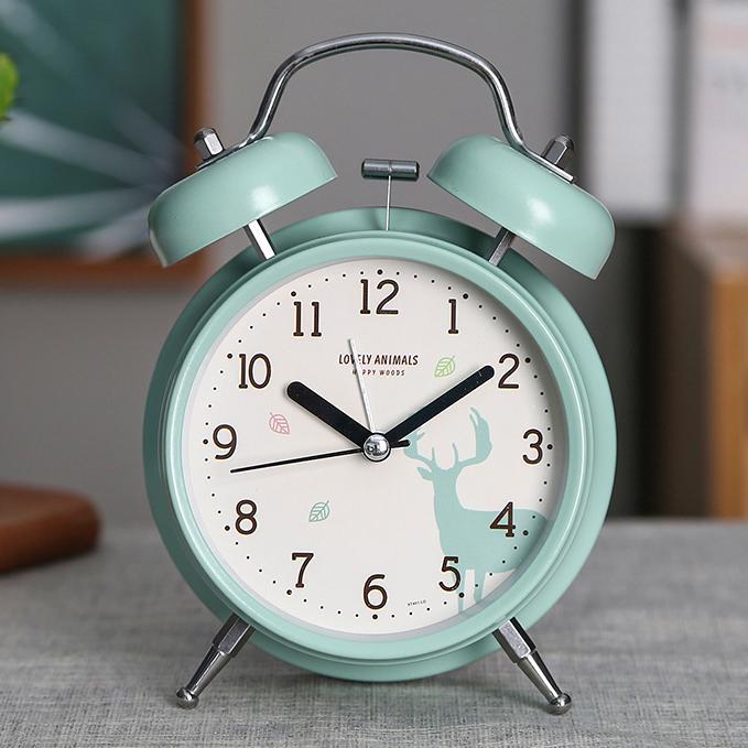 鬧鐘創意小鐘表學生簡約可愛時鐘靜音床頭臺鐘兒童迷你時尚夜光鐘