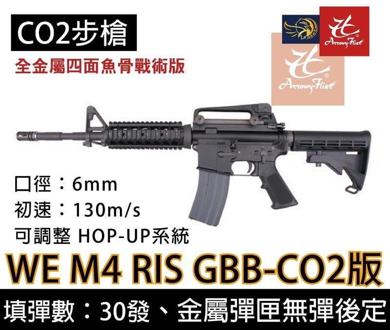 昊克生存遊戲-騎翼鶯歌 WE M4 RIS 全開膛 魚骨版 全金屬 CO2氣動槍  步槍 長槍 卡賓槍
