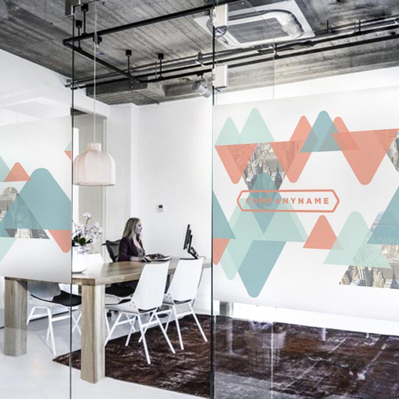 彩色幾何形背膠靜電磨砂定制不透明廣告公司辦公室移門裝飾玻璃貼新品