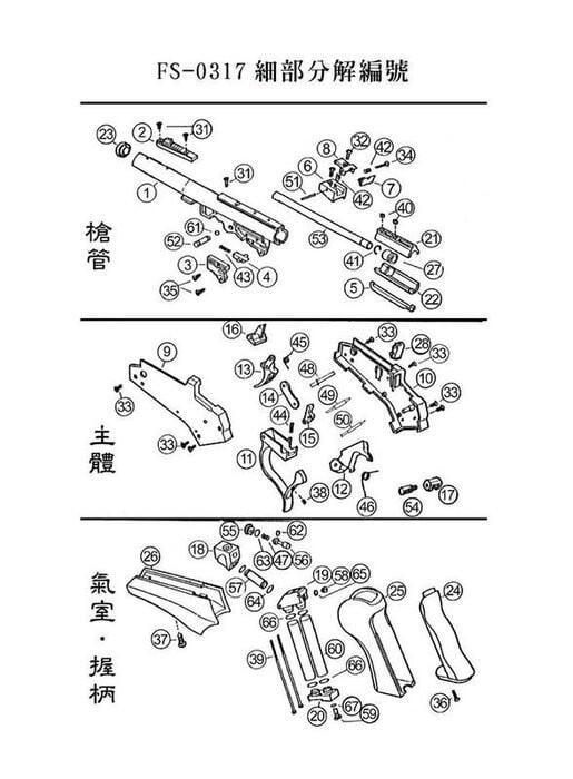 【BCS武器空間】FS 華山 0317 TARGET 單發中折槍 原廠客訂零件專用賣場(現貨供應)-FS0317PART