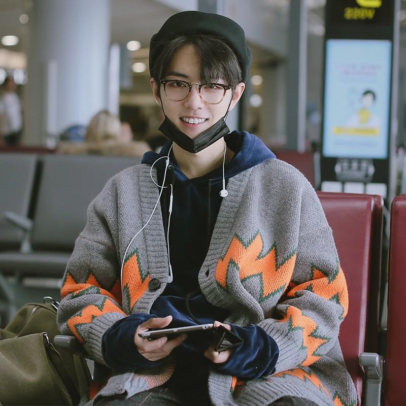 肖戰同款超火慵懶風情侶毛衣開衫毛線長袖上衣秋冬新款毛衣針織衫