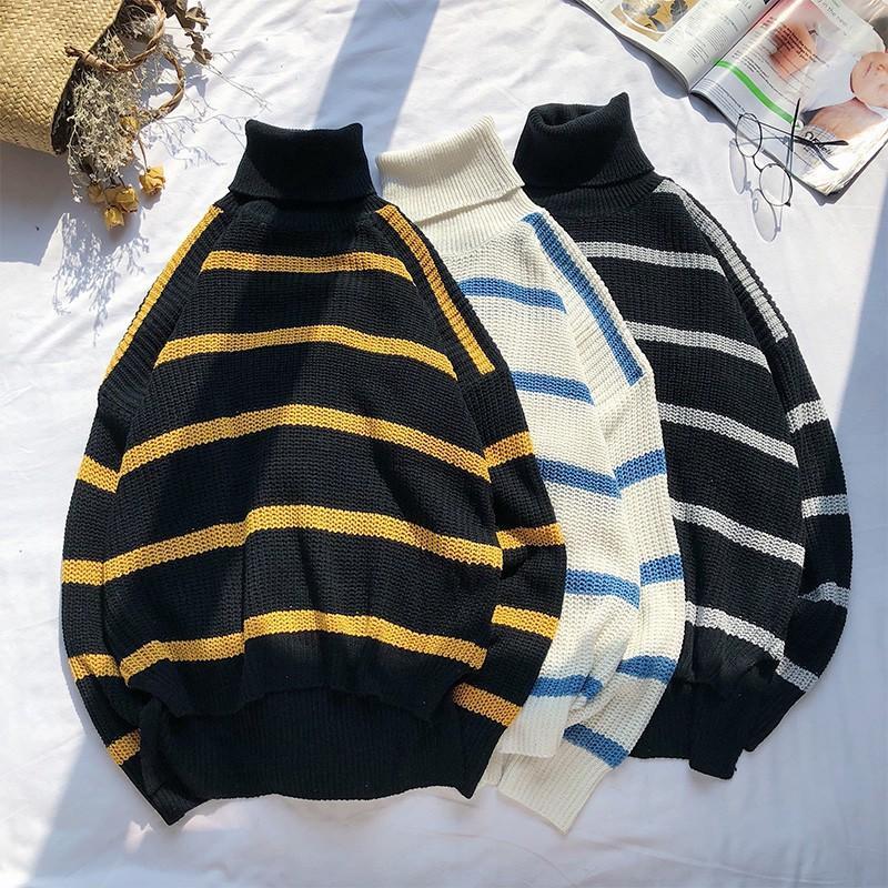 ins潮流秋冬新款韓版寬鬆原宿風bf風條紋高領套頭毛衣毛線長袖打底