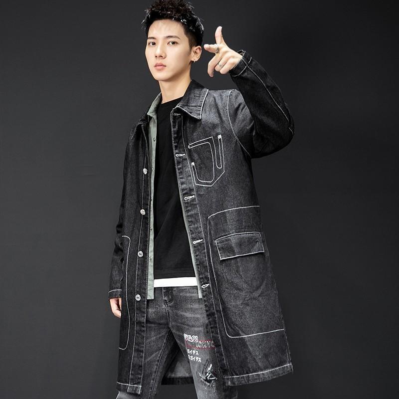 S-5XL 黑色長款工裝牛仔外套男春秋韓版潮流港風工作牛仔上衣修身