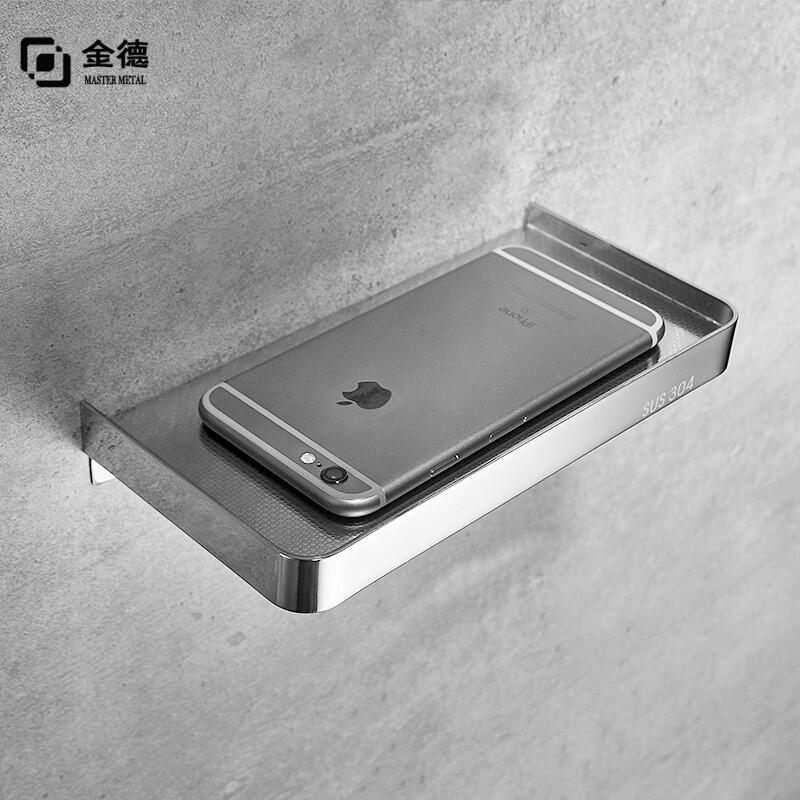 浴室手機架 廁所紙巾托盤 304不鏽鋼浴室置物架 掛牆壁掛隔板床頭架子 免打孔  免釘 紙巾架