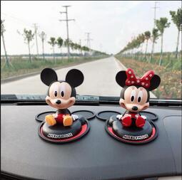 米奇米妮汽車擺件搖頭車載迪士尼車內飾品擺件米老鼠創意卡通公仔