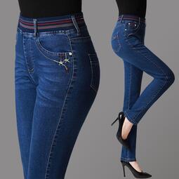 正品高腰松緊牛仔褲女彈力大碼直筒修身顯瘦胖mm中年媽媽牛仔長褲