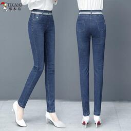 啄木鳥2021年春季新款牛仔褲女修身彈力高腰松緊腰緊身小腳長褲女