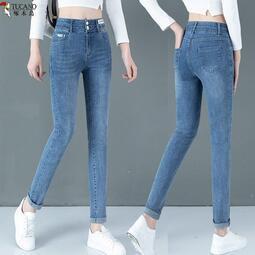 啄木鳥牛仔褲女2021春秋新款高腰緊身顯瘦小腳彈力淺色修身鉛筆褲