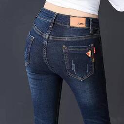 高腰彈力小腳牛仔褲女2020春秋新款顯瘦長褲子大碼胖MM緊身鉛筆褲