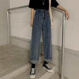 春季韓版bf復古高腰寬松闊腿牛仔褲女學生休閑百搭顯瘦直筒長褲潮