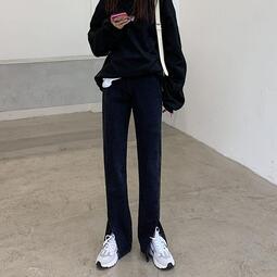 高腰黑色微喇開叉牛仔褲女加絨顯瘦秋冬闊腿大碼胖MM分叉喇叭褲子