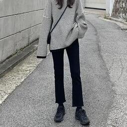 牛仔褲女黑色高腰顯瘦修身彈力直筒褲春秋新款BF風學生百搭九分褲