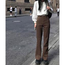 微喇褲子女秋季新款復古大碼高腰修身顯瘦韓版百搭闊腿牛仔長褲潮