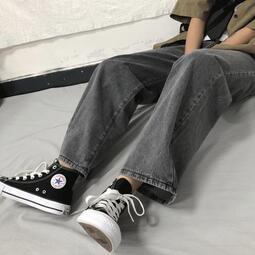 春秋新款韓版ins復古高腰闊腿牛仔褲女學生寬松顯瘦直筒長褲子潮
