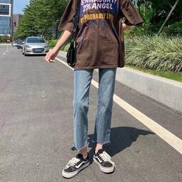牛仔褲女2021春夏高腰彈力新款百搭顯瘦長褲寬松潮流九分直筒褲子