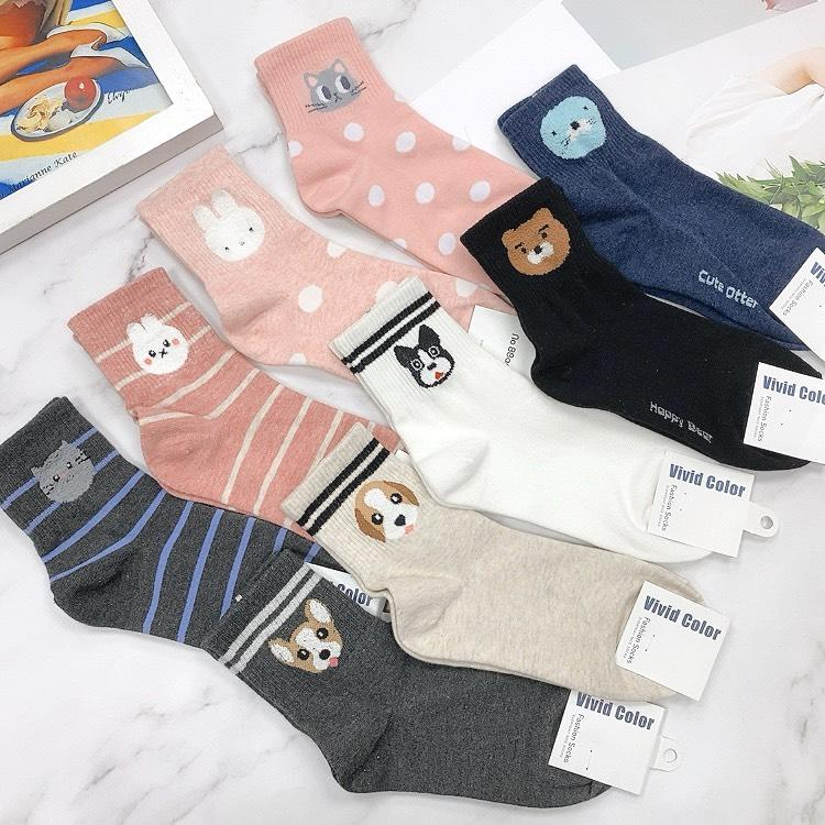 Q版動物襪 毛絨圖案 兔子 狗狗 貓咪 條紋襪 絨毛襪子 韓國襪子