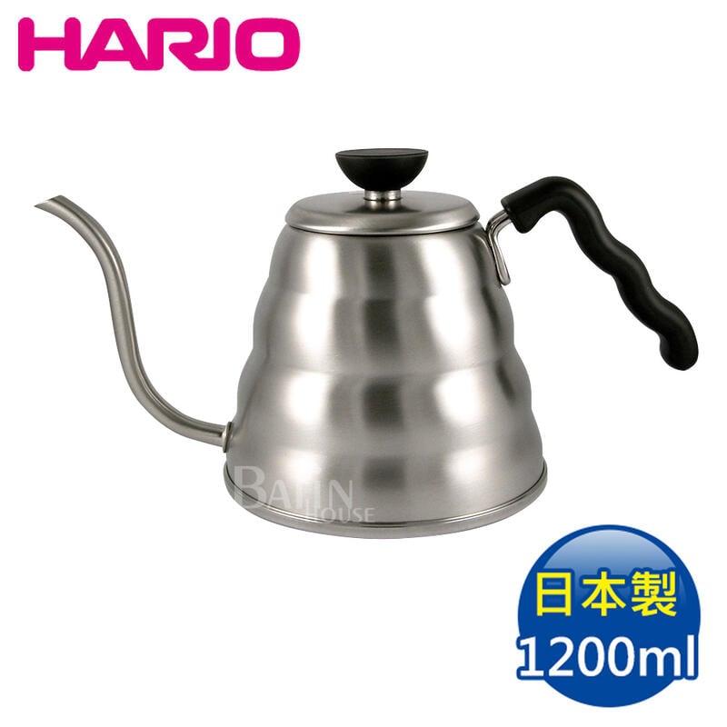 【HARIO】雲朵不鏽鋼細口壺 1200ml ( VKB-120HSV) 日本製 日本進口 手沖咖啡 304不鏽鋼