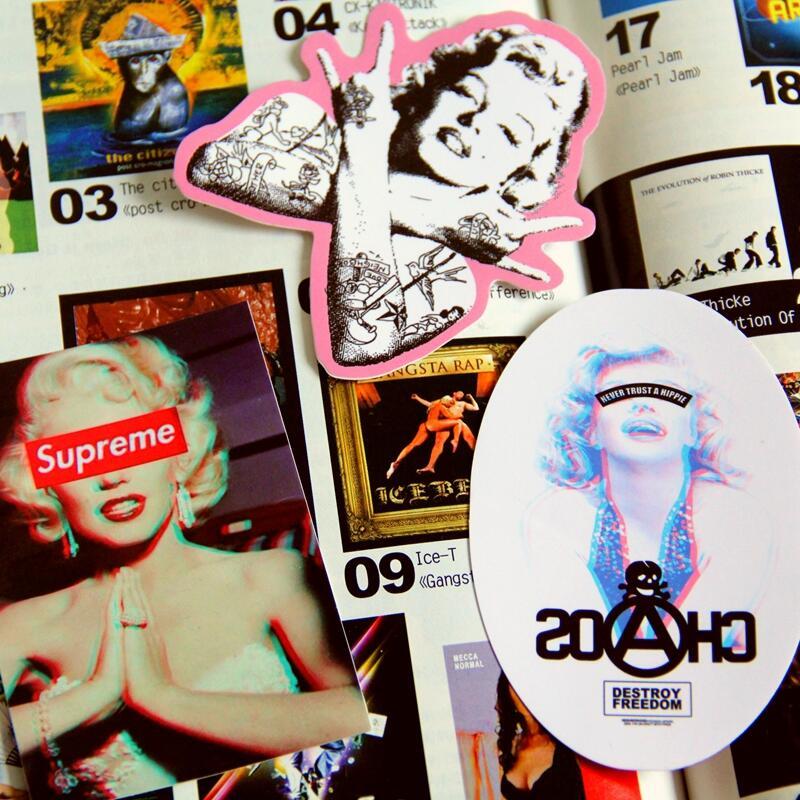 瑪麗蓮夢露行李箱貼紙筆記型電腦搖滾吉他朋克滑板個性防水貼畫