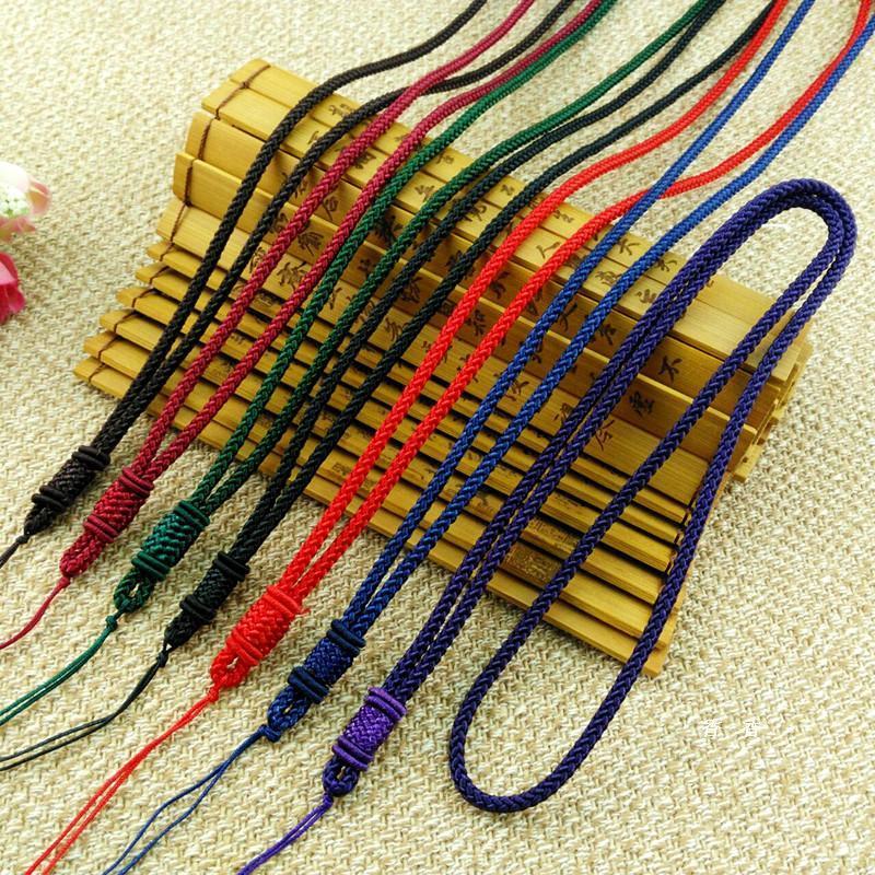 散珠 DIY配飾 長線扁扣項鍊繩子毛衣鍊飾品玉墜玉佩翡翠編織繩掛墜繩項鍊掛繩