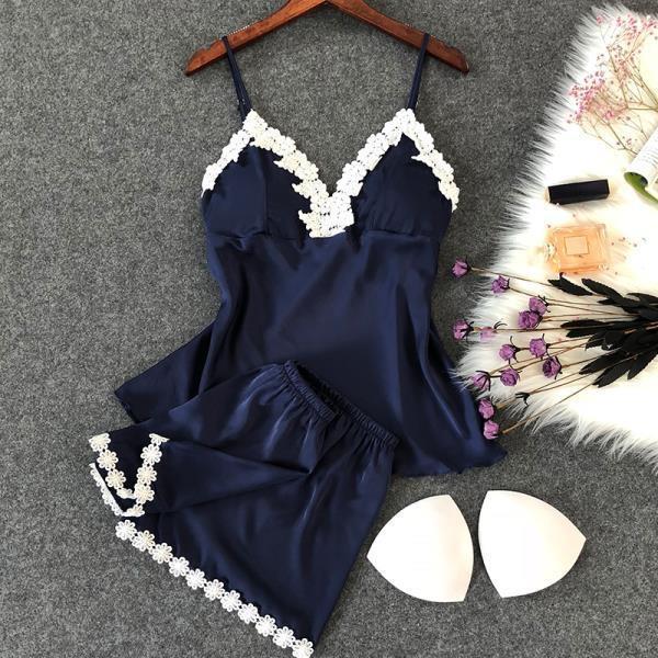 限時優惠8折 性感睡衣少女士夏季冰絲綢薄款短袖短褲帶胸墊吊帶兩件套裝家居服