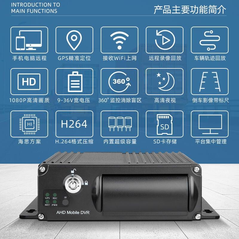 1080P四路車載錄像機4G遠程監控軌跡回放360度客貨車視頻監控系統