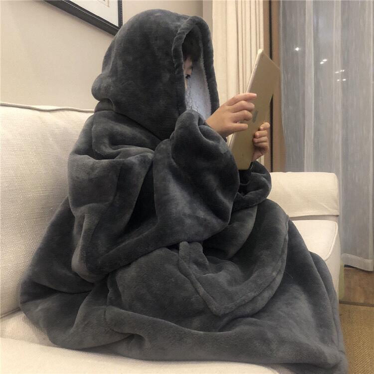 家居服法蘭絨懶人毯TV毯蓋毯電視毯戶外防寒連帽家居服加厚男女裝