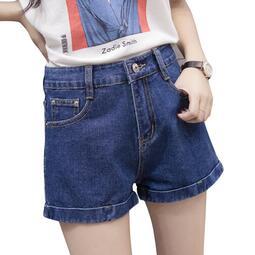 新款高腰牛仔短褲女夏學生韓版寬松修身顯瘦百搭熱褲黑色白色大碼