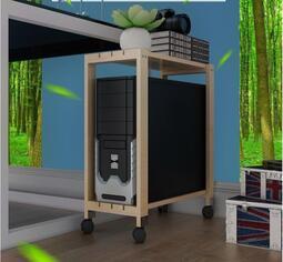 定做雙層臺式電腦主機架可移動 散熱主機托架實木機箱架機箱底座
